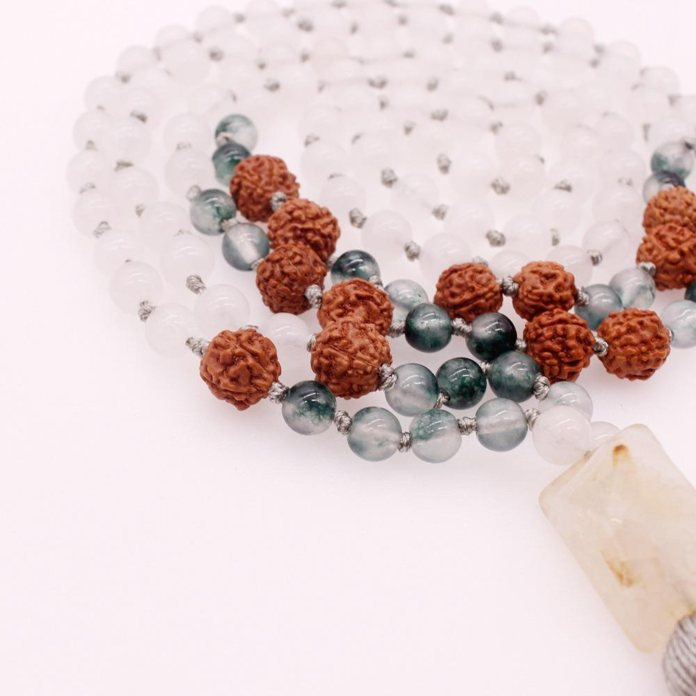 6MM Jade Stone Grass Agate & 12MM Bodhi Beads Mala Yoga Necklace
