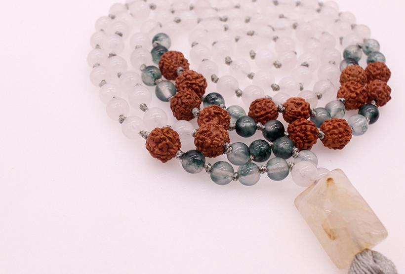 6MM Jade Stone Grass Agate & 12MM Bodhi Beads Mala Yoga Necklace