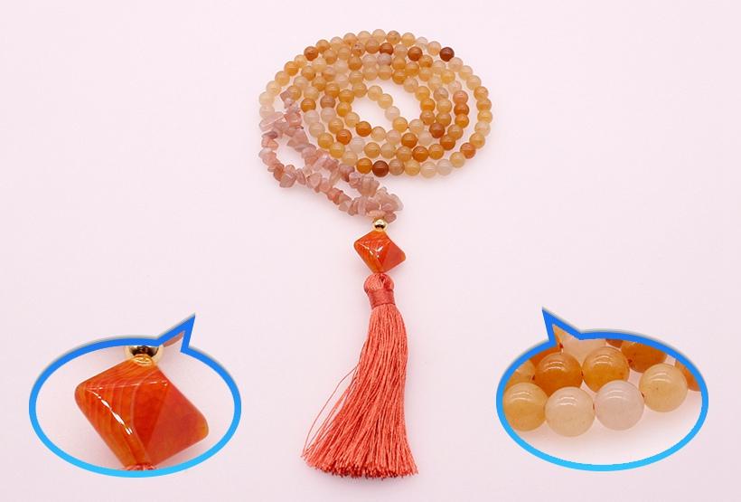 6mm Beige Jade Stone Beads & Pink Aventurine Chips Necklace