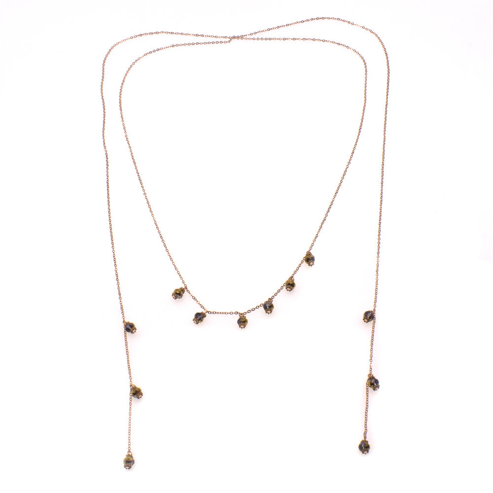 Handmade Gold Plated Crystal Beads Necklace