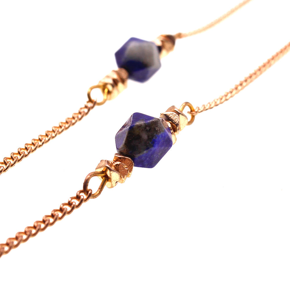 Short Gold Plated Chain Lapis Lazuli Beads Necklace