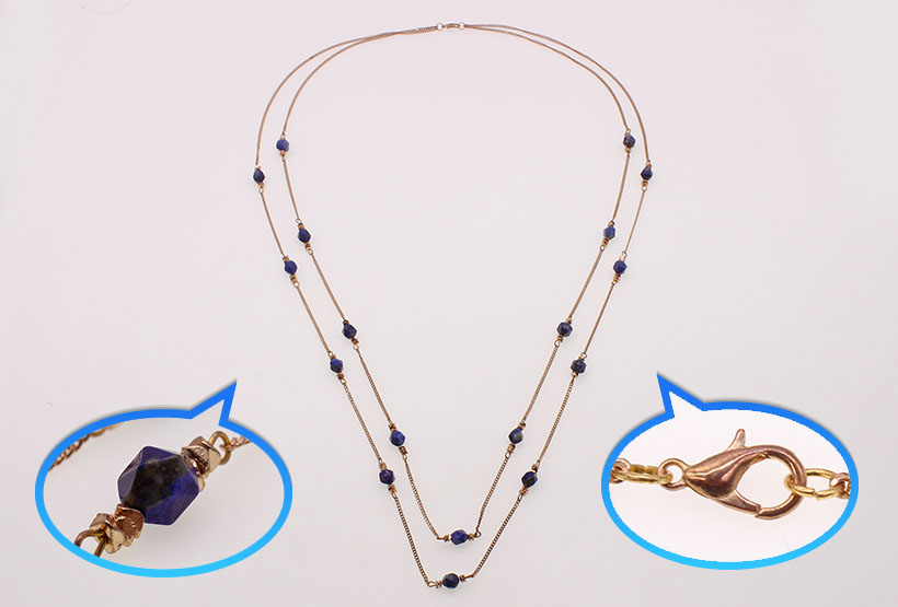 Gold Plated Chain Lapis Lazuli Beads Necklace Wholesale Handmade Jewelry