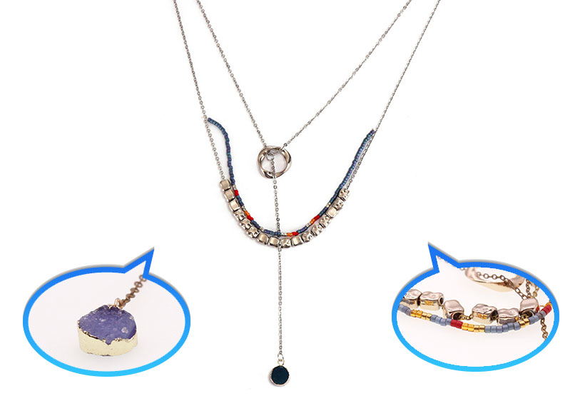 Wholesale Jewelry Handmade Gold Plated Miyuki Mutilayer Druzy Charms Necklace