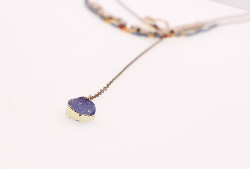 Gold Plated Miyuki Mutilayer Druzy Charms Necklace