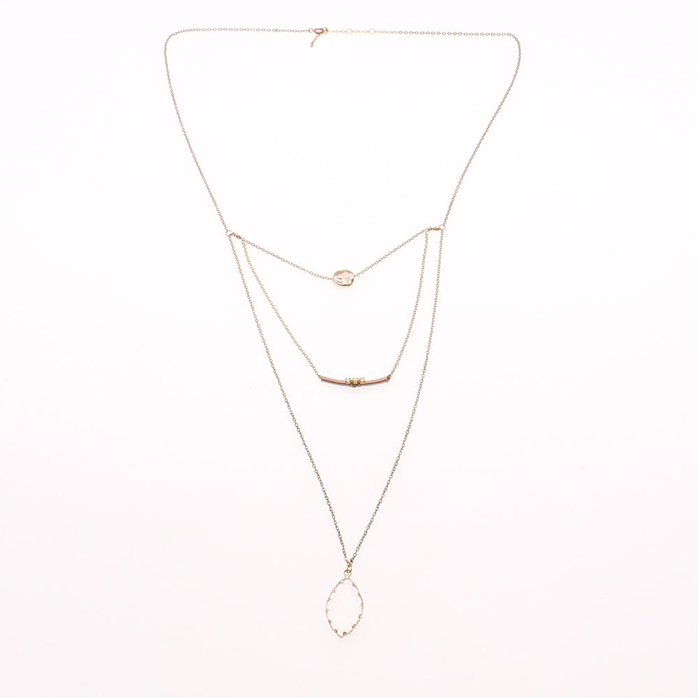 Handmade Gold Plated Mutilayer Pendant Necklace