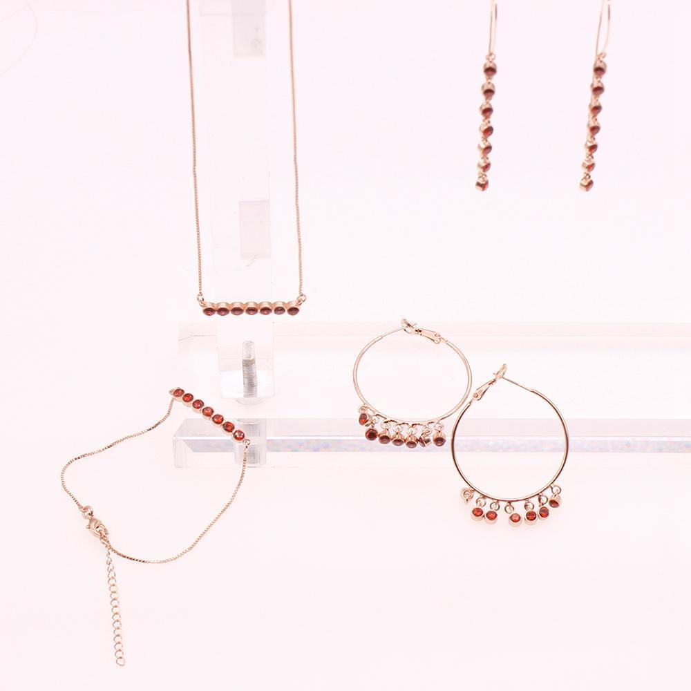 Gold Plated Rhinestone Bracelet Necklace Earrings Jewelry Set