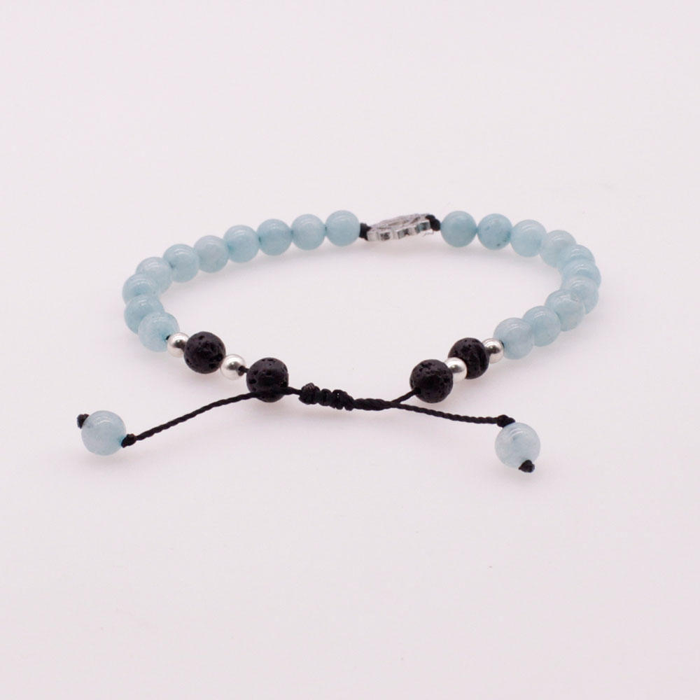6mm Aquamarine and Lava Beads Chakra Charms Bracelet