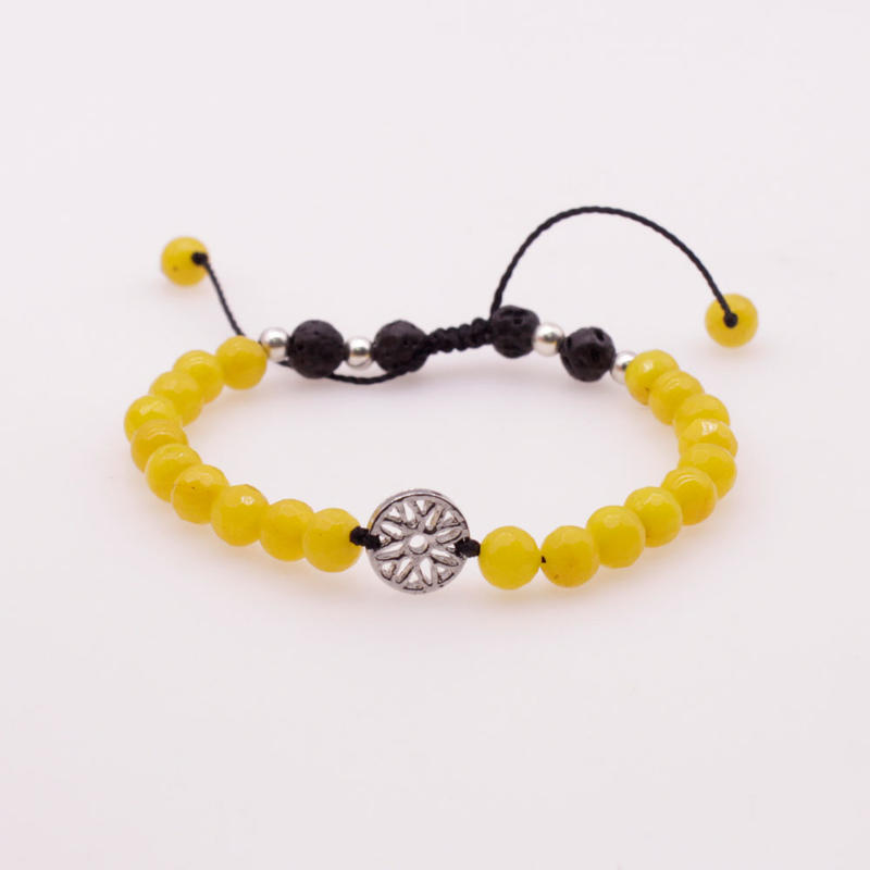 6MM Yellow Colorful Jade Stone and Lava Beads Chakra Charms Bracelet