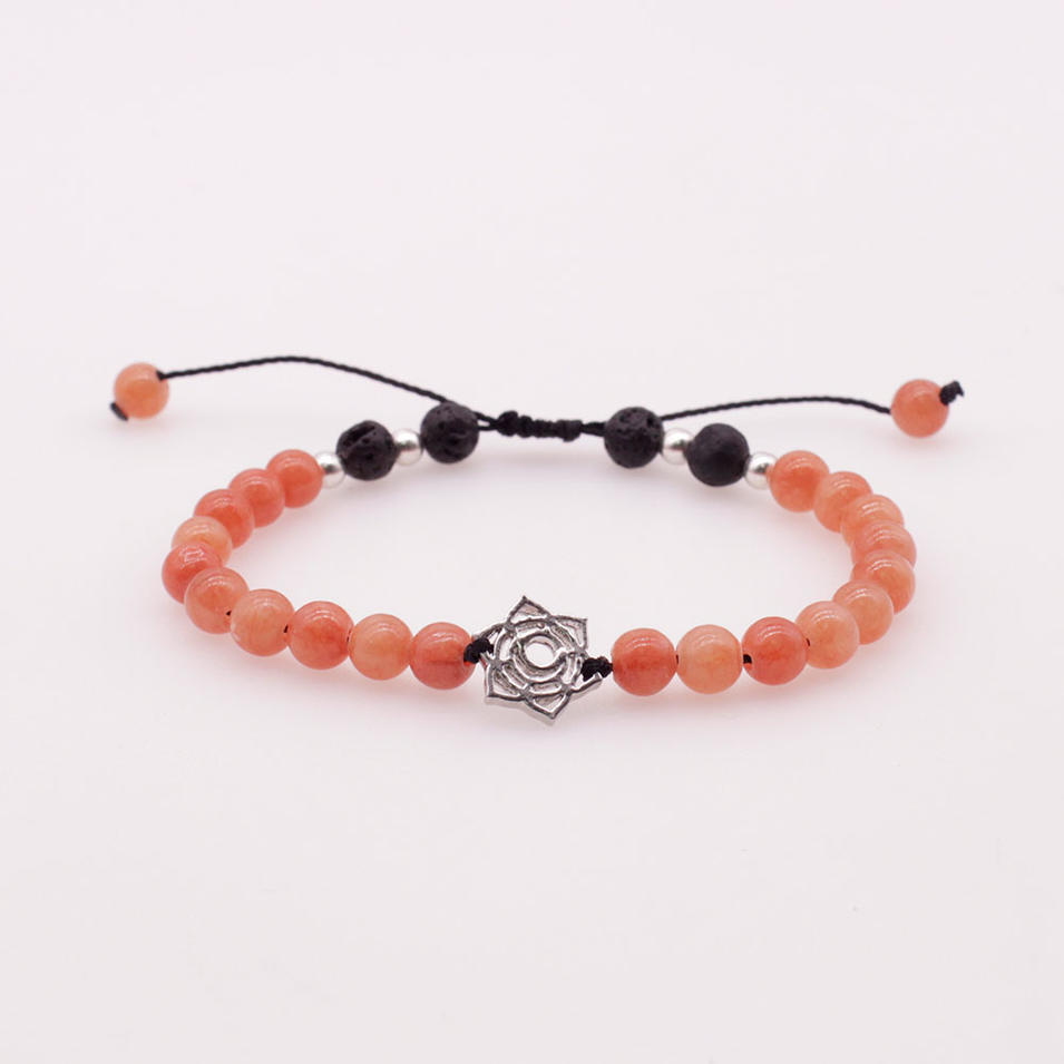 6MM Colorful Jade Stone and Lava Beads Chakra Charms Bracelet
