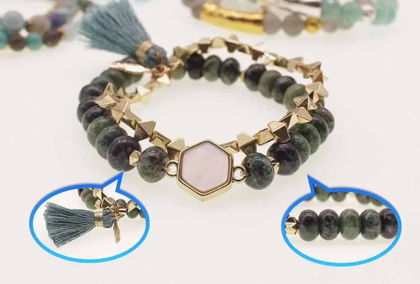 African Turquoise & Hematite Beads Tassel Bracelet