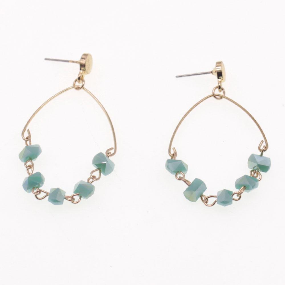 Handmade Section Crystal Beads Hoop Earrings