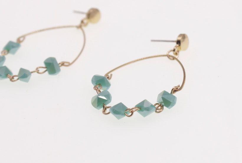 Handmade Section Crystal Beads Hoop Earrings