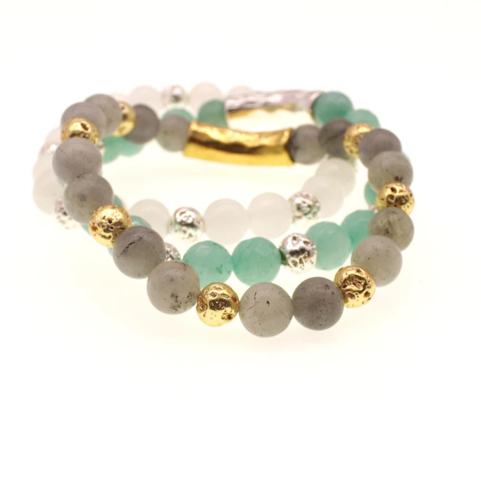 Natural Stone & Lava Stone Beads Stretch Bracelet