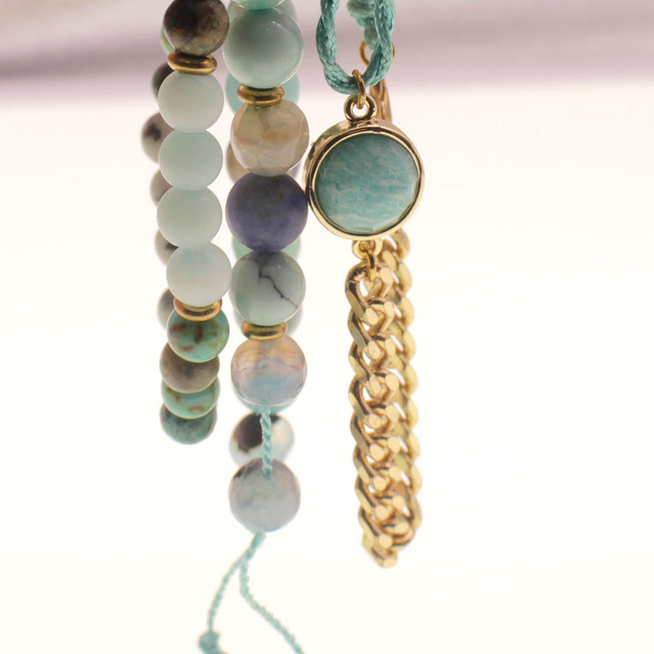 Mixed Natural Stone Copper Wax Rope Mutilayer Bracelet