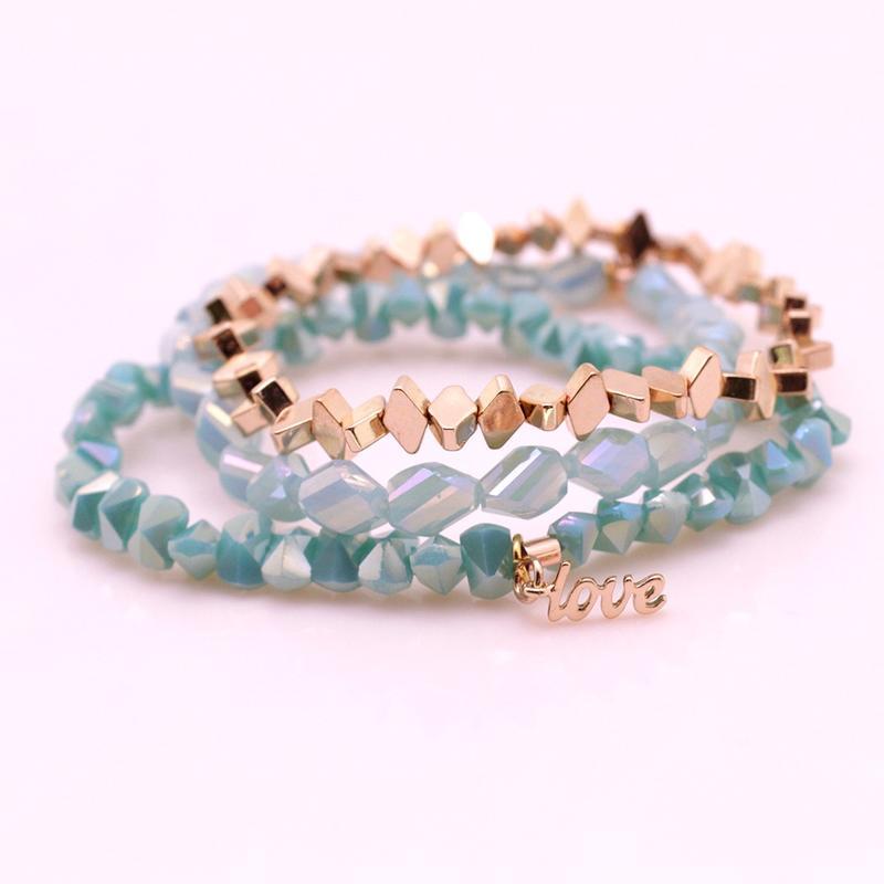 Section Crystal Hematite Beads Mutilayer Bracelet Set