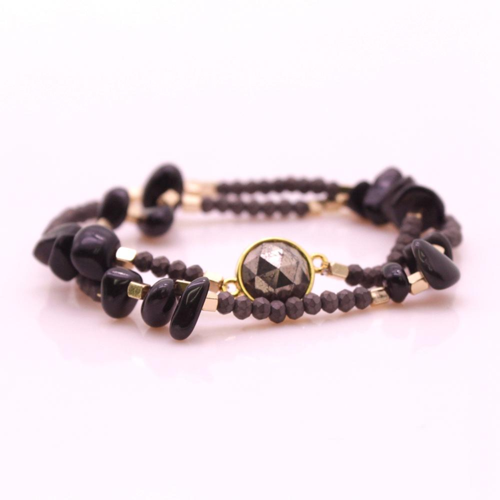 Crystal Hematite Copper Beads Double Layers Bracelet