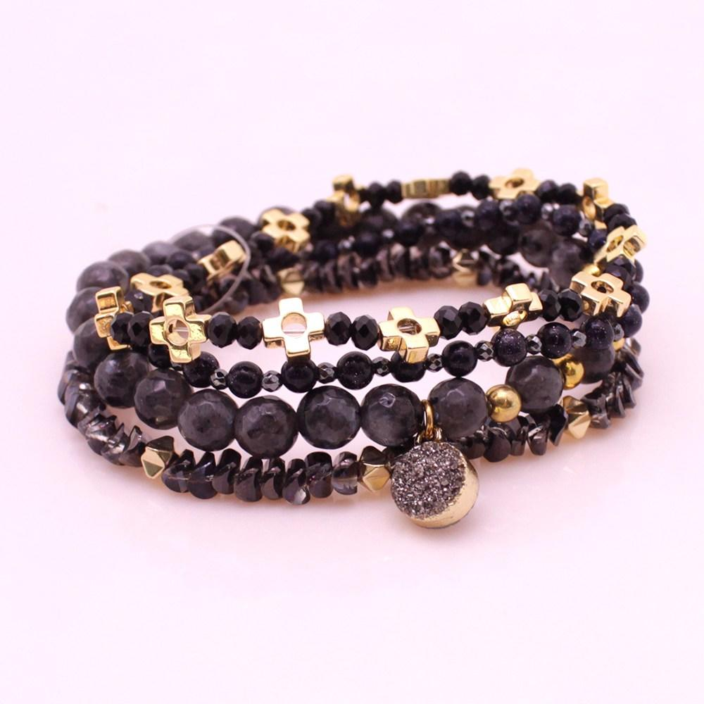 Hematite Crystal Copper Beads Mutilayer Bracelet Set