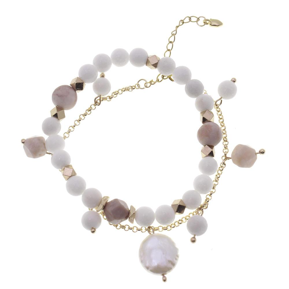 Porcelain White Stone Beads Pearl Bracelet