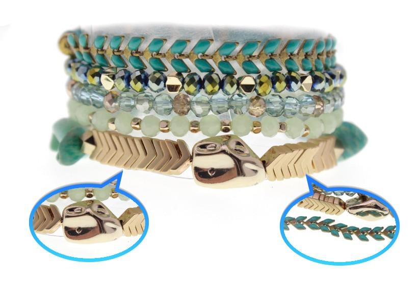 Crystal Hematite Plastic Pieces Bracelet Set