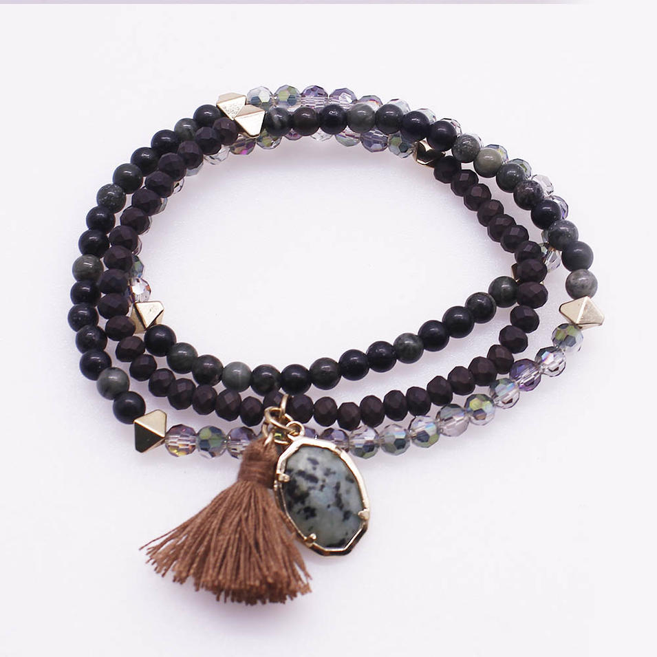 Mix Natural Crystal Beads Charm Wrap Bracelet