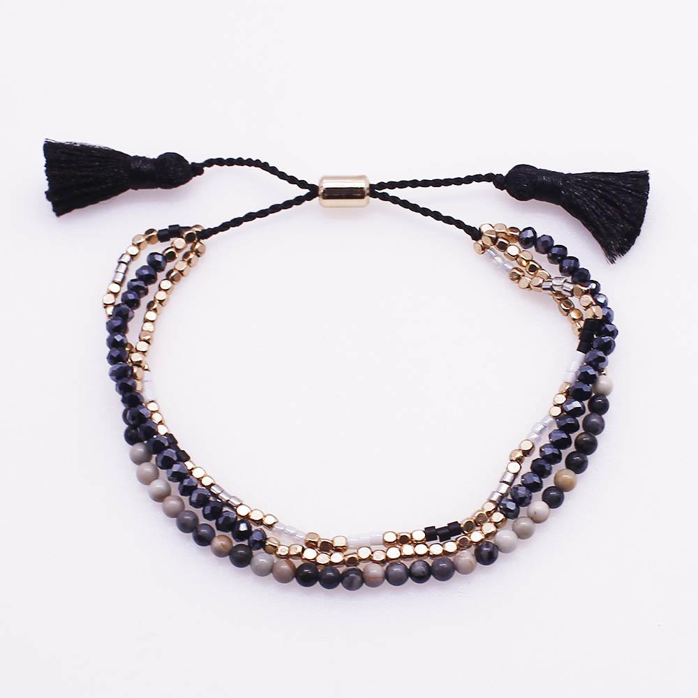Miyuki Crystal and Stone Bead Mutilayer Tassel Bracelet
