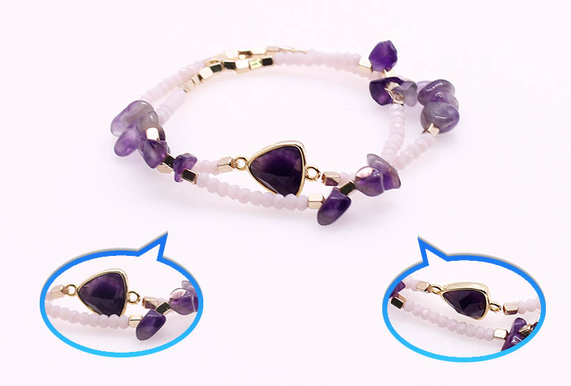 Crystal Bead Amethyst Chip Double Layer Bracelet