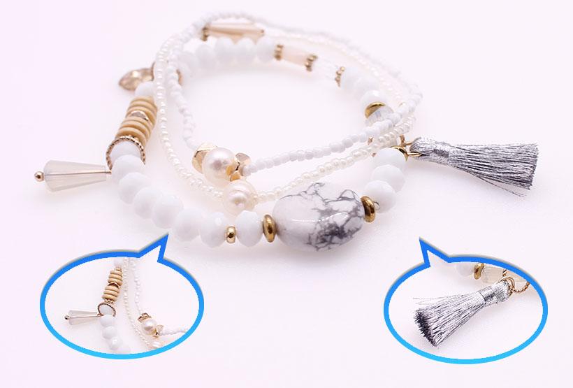 Seed Bead Crystal Beads Charm Bracelet Set