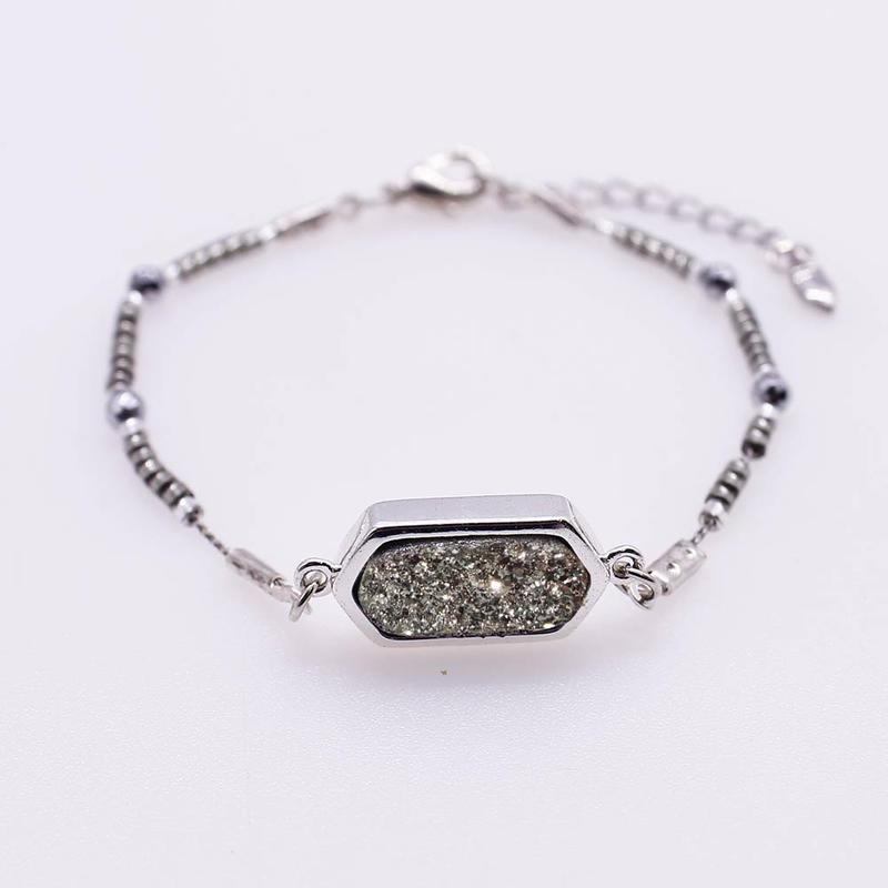 Handmade Hematite Bead Druzy Bracelet