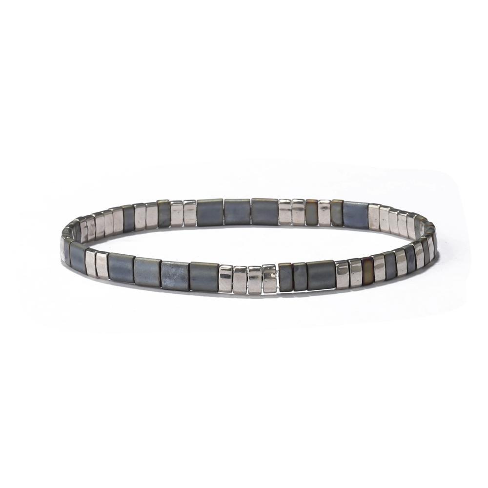 Factory Direct Price Men Women Matte Cream Stretch Tila Seed Bead Bracelet