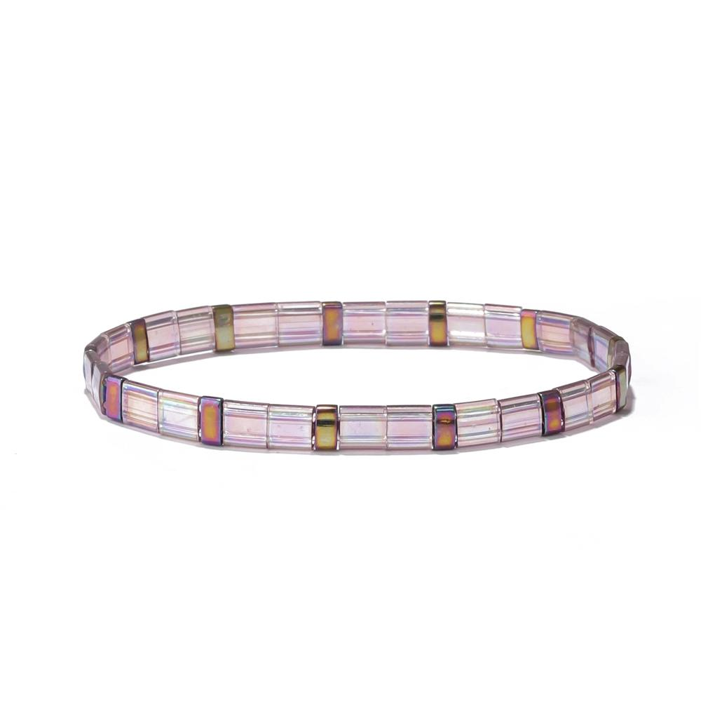 2019 Trendy Hot Sale Summer Marine Miyuki Flat Square Seed Clear Bright Tila Bead Bracelet