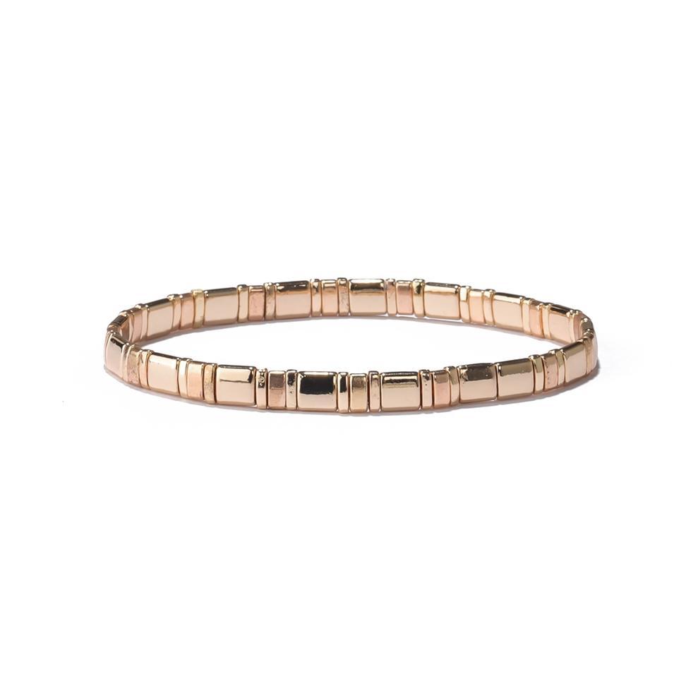 Wholesale Trendy Design Elastic Tila Flat Square Seed Bead Mix Bracelet