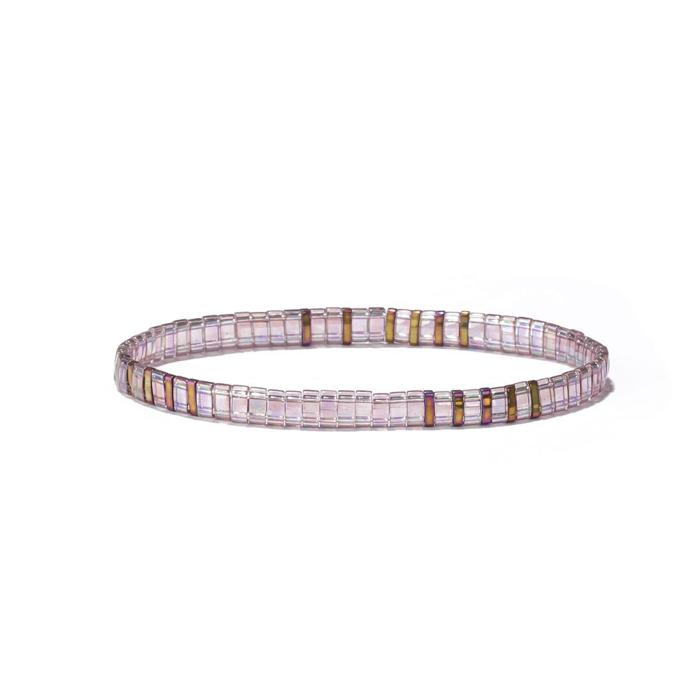 Wholesale Price Handmade Fancy Elastic Rope String Bead Purple Clear Tilu Bracelet