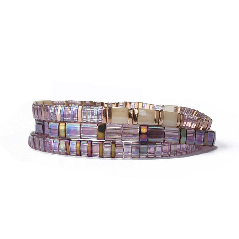 Wholesale Price Handmade Fancy Elastic Rope String Bead Purple Clear Tilu Bracelet
