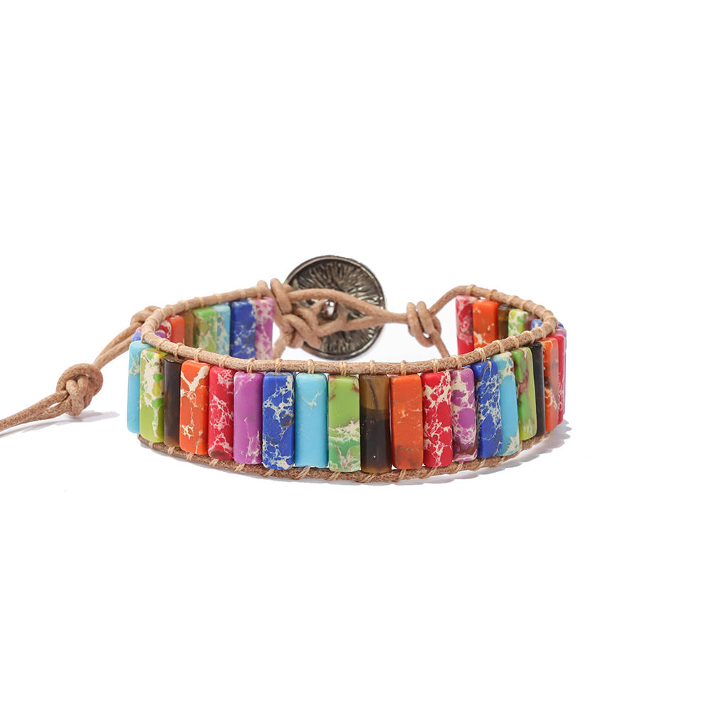 2019 Colorful Luxury Fashion Boho Couples Bohemian Men Women Multi Color Leather Chakra Stone Beaded Bracelet Set