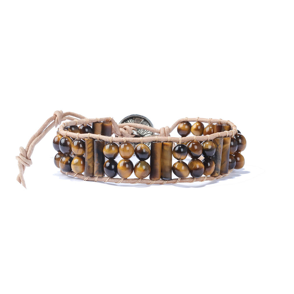 Handmade Adjustable Leather Wrap Round Beaded Real Natural Stone Men Tiger Eye Bracelet