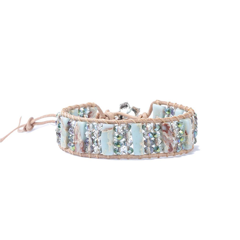 Handmade Adjustable Leather Wrap Round Beaded Real Natural Stone Men Tiger Eye Bracelet