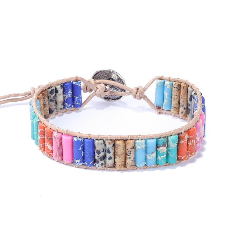 Factory DIY Hand Making Jewelry Leather Wrap Stone Beads Men Women Accessories Bracelet