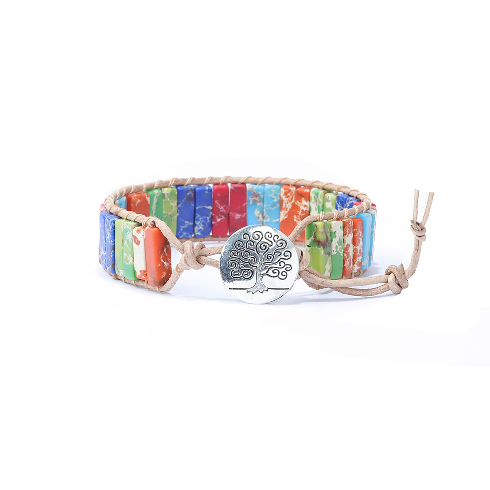 TTT Jewelry Girl Fashion Design Hand Made Beaded Leather Wrap Tube Stone Bead Colorful Bracelet