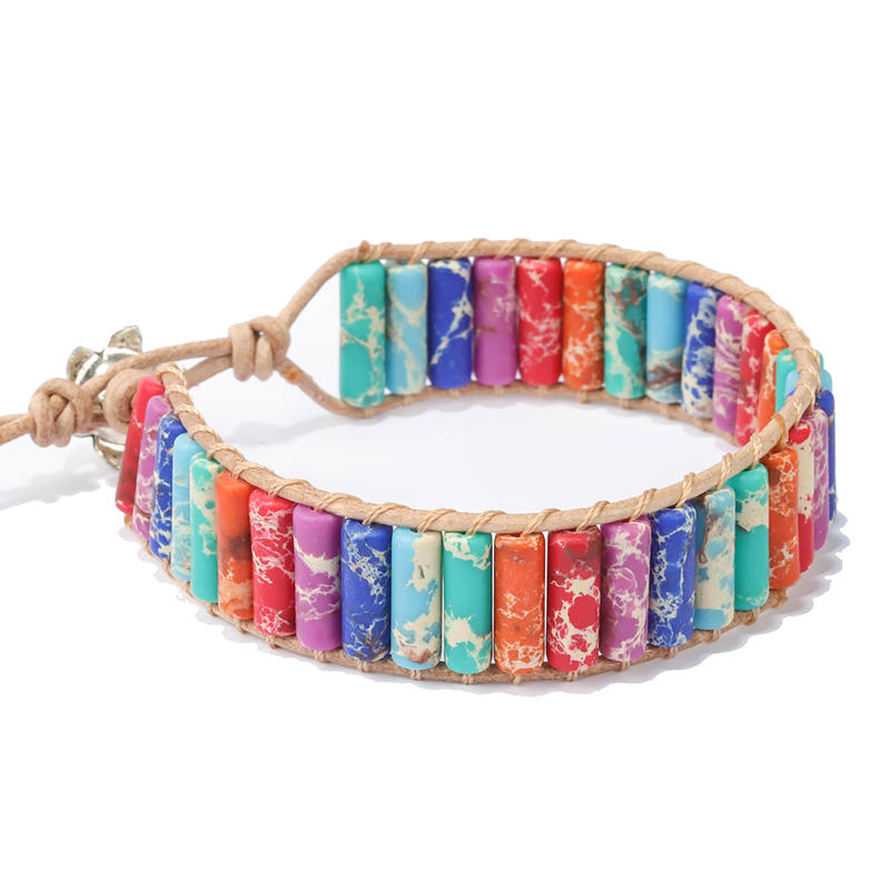 Fancy Yoga Energy Bohemia Handmade Jewelry Adjustable Leather Wrap Weave Colorful Bead 7 Chakra Natural Stone Bracelet