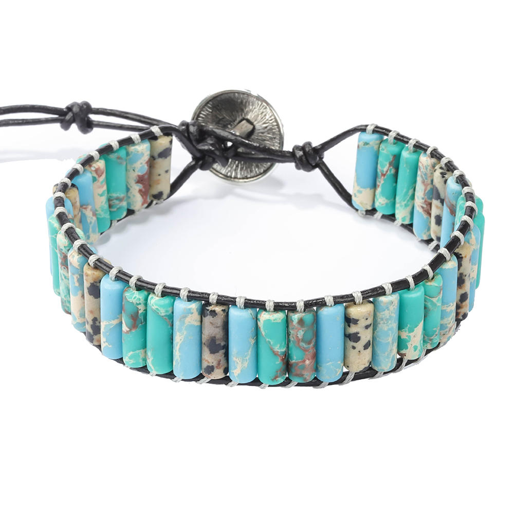 Hot Sale Wholesale Adjustable Handmade Various Colour Tube Bead Chakra Leather Wrap Bracelet With Stone