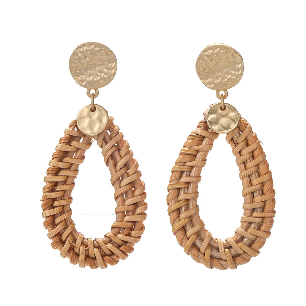 Large Big Geometric Light Weight Weave Bamboo Wicker Straw Rattan Weave Hoop Shaped Triangle Earring
