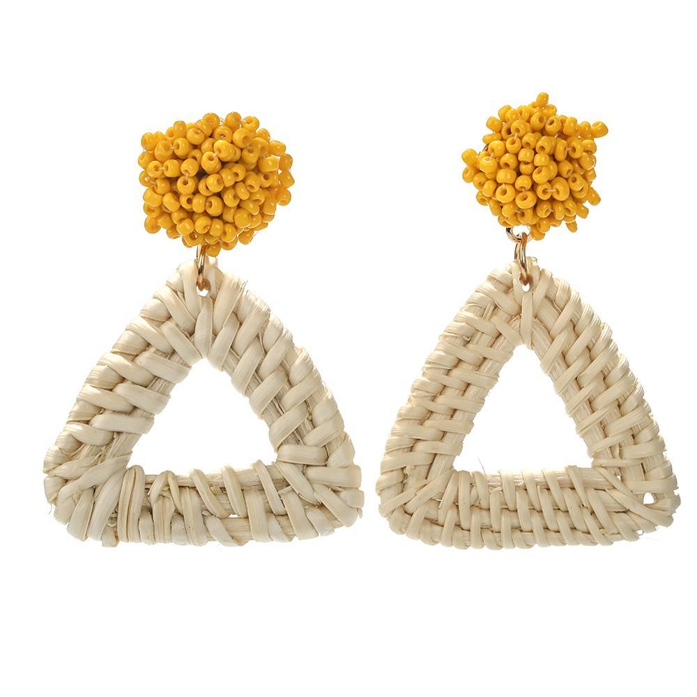 Large Big Geometric Light Weight Weave Bamboo Wicker Straw Rattan Weave Hoop Shaped Triangle Earring