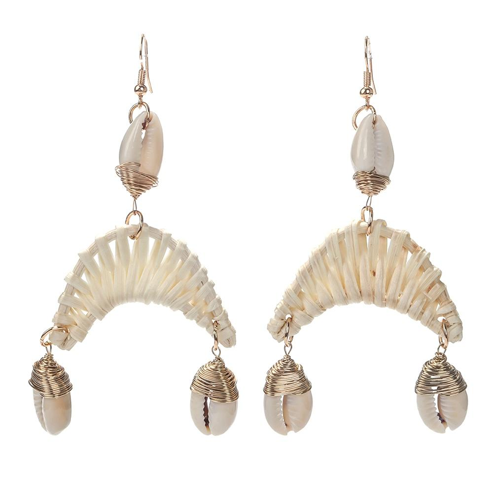 TTT Jewelry 2019 Trendy New Design Korean Style Rattan Weave Fashion Sea Beach Summer Earrings