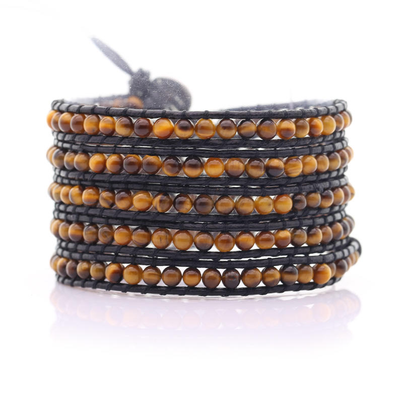 Custom Vintage Multi-Layer Lady Women Stone Bead Leather Wrap Bracelet
