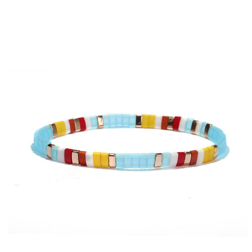 Popular Fashion Boho Small Miyuki Tila Bead String Custom Beaded Elastic Bracelet
