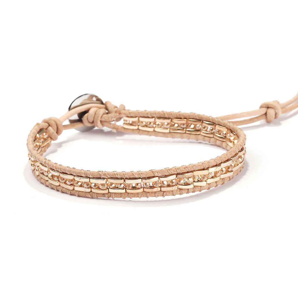 TTT Jewelry Miyuki Half Quarter Tila Beads Crystal Adjustable Handmade Women Leather Beaded Wrap Bracelets