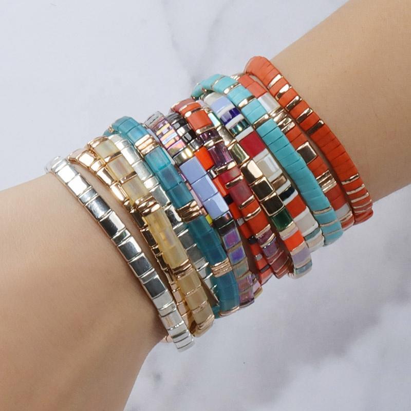 Wholesale Fashion Colourful DIY Friendship Couple Gift Boho Bohemian Jewelry Stacked Ladies Women Glass Bead Bracelet Set