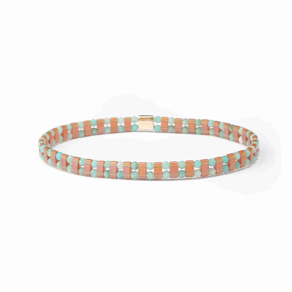 Half Quarter Bohemia Glass TILA Beads Bracelet
