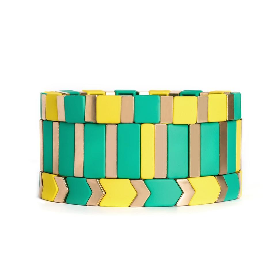 High Polished Rainbow Tile Bead Bracelet Enameled Stretch Tile Bracelet For women-Yellow & Green