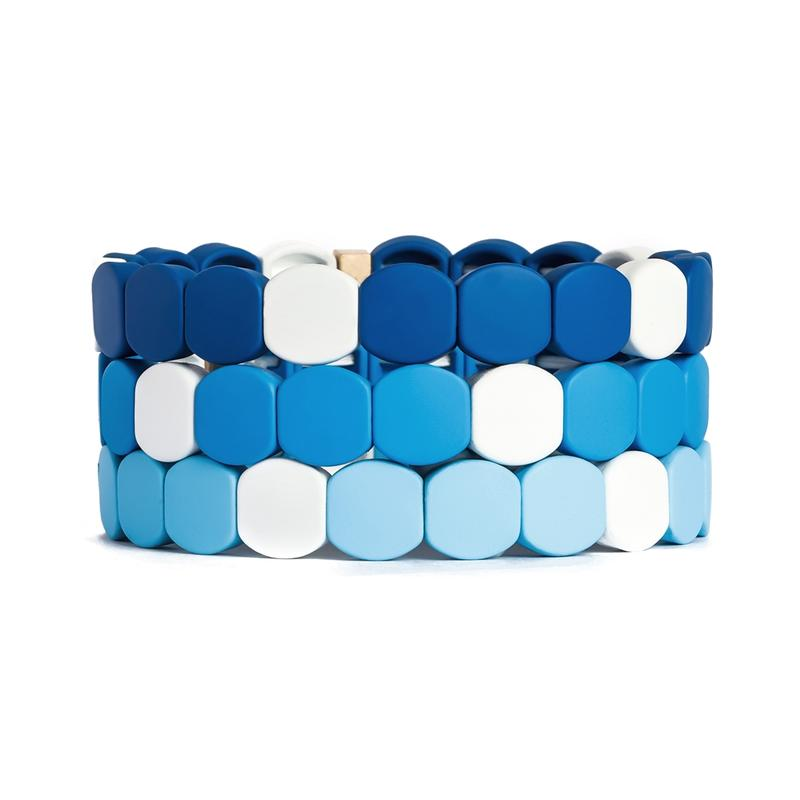 Wholesale Factory Outlet Bohemia Stretch Five Enamel Rainbow Cuff Tennis Bracelets for Women